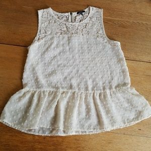 Monteau Cream Polka Dot/Floral Lace Sleeveless Top